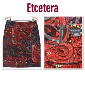 Etcetera Paisley Print Suede Pencil Skirt (8)